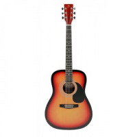 Entry-level steel-string acoustic guitar with sunburst finish.