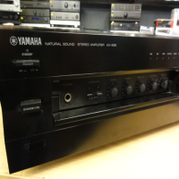 Powerful hi-fi amp with a very smooth sound. <br /><br />We love Yamaha's 'Natural Sound' series of hi-fi amps, and the AX596 is one of our favourites!<br /><br />Great build quality and reliable performance.<br /><br />2 independent pairs of speaker outputs.<br /><br />Bass, Treble, Direct and Balance controls, as well as Loudness with Flat > -30db rotary control.<br /><br />5 line-level inputs and one phono stage.<br /><br />Assignable record out.<br />  <br />Power output: 100 watts per channel into 8 ohm (stereo)<br /><br /><br />